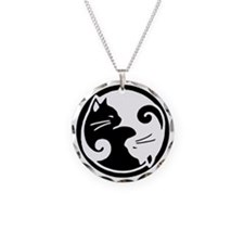 Yin Yang Cat Pet Tag Necklace Circle Charm
