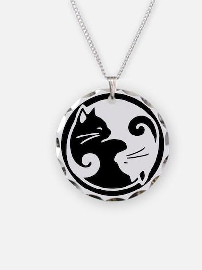 Yin Yang Cat Pet Tag Necklace Circle Charm