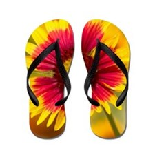 Pink and yellow flower Flip Flops