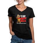 Big Teddy Bear Women's V-Neck Dark T-Shirt