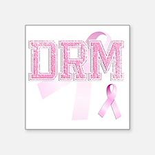 "DRM initials, Pink Ribbon, Square Sticker 3"" x 3"""