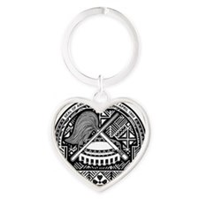 American Samoa Coat of Arms Heart Keychain