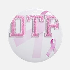 DTF initials, Pink Ribbon, Round Ornament