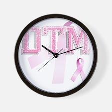 DTM initials, Pink Ribbon, Wall Clock