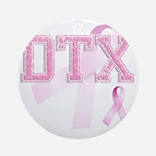 DTX initials, Pink Ribbon, Round Ornament