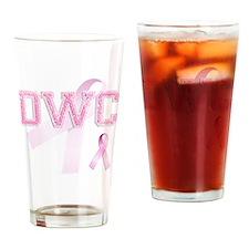 DWC initials, Pink Ribbon, Drinking Glass