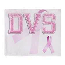 DVS initials, Pink Ribbon, Throw Blanket