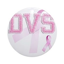 DVS initials, Pink Ribbon, Round Ornament