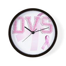 DVS initials, Pink Ribbon, Wall Clock