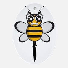 bee knife-stinger Oval Ornament