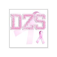 """DZS initials, Pink Ribbon, Square Sticker 3"""" x 3"""""""