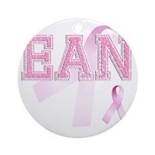 EAN initials, Pink Ribbon, Round Ornament