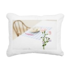 Flowers on dining table Rectangular Canvas Pillow