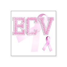 "ECV initials, Pink Ribbon, Square Sticker 3"" x 3"""