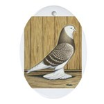 Brown Check Bald West Oval Ornament