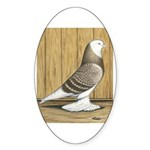 Brown Check Bald West Oval Sticker
