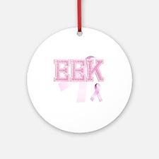 EEK initials, Pink Ribbon, Round Ornament