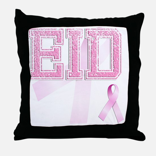 EID initials, Pink Ribbon, Throw Pillow