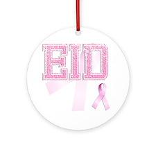 EID initials, Pink Ribbon, Round Ornament