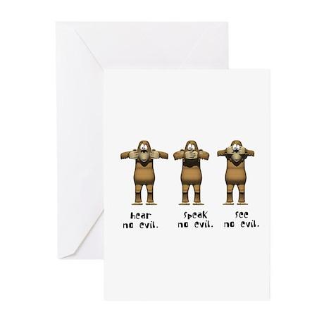 Hear No Evil Monkeys Greeting Cards (Pk of 10)