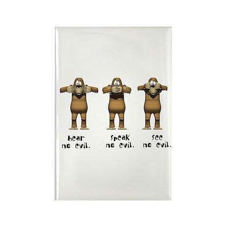Hear No Evil Monkeys Rectangle Magnet (10 pack)