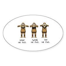 Hear No Evil Monkeys Oval Decal