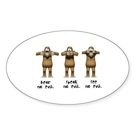 Hear No Evil Monkeys Oval Sticker