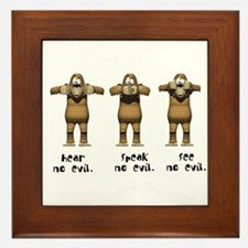 Hear No Evil Monkeys Framed Tile