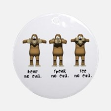 Hear No Evil Monkeys Ornament (Round)