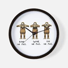 Hear No Evil Monkeys Wall Clock
