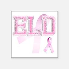 """ELD initials, Pink Ribbon, Square Sticker 3"""" x 3"""""""