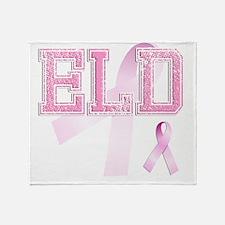 ELD initials, Pink Ribbon, Throw Blanket
