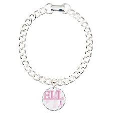 ELL initials, Pink Ribbo Bracelet