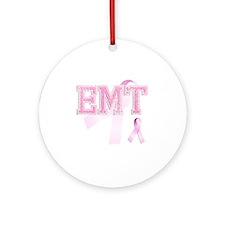 EMT initials, Pink Ribbon, Round Ornament