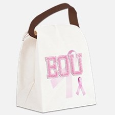 EOU initials, Pink Ribbon, Canvas Lunch Bag