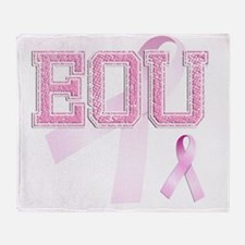 EOU initials, Pink Ribbon, Throw Blanket