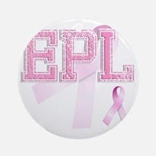 EPL initials, Pink Ribbon, Round Ornament