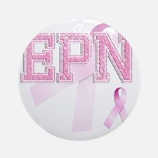 EPN initials, Pink Ribbon, Round Ornament