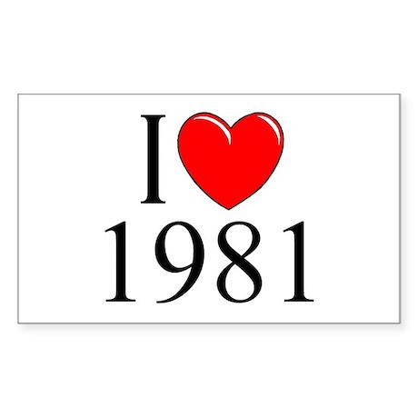 """I Love 1981"" Rectangle Sticker"