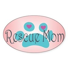 Rescue Mom with hearts and backgrou Decal