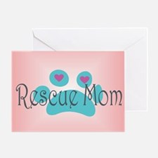 Rescue Mom with hearts and backgroun Greeting Card