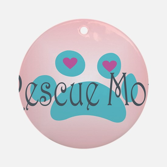 Rescue Mom with hearts and backgrou Round Ornament