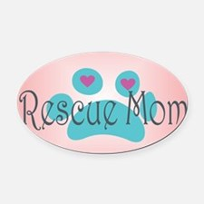 Rescue Mom with hearts and backgro Oval Car Magnet