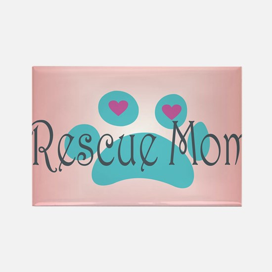 Rescue Mom with hearts and backgr Rectangle Magnet