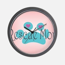 Rescue Mom with hearts and background Wall Clock