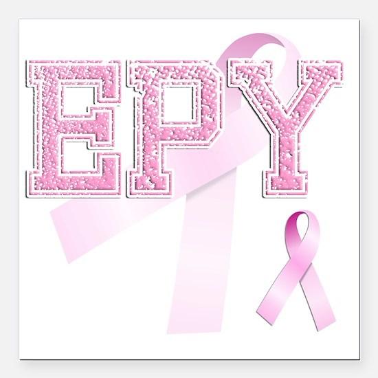 "EPY initials, Pink Ribbo Square Car Magnet 3"" x 3"""