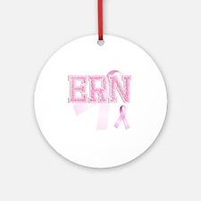 ERN initials, Pink Ribbon, Round Ornament