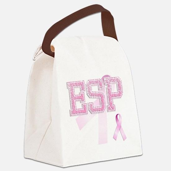 ESP initials, Pink Ribbon, Canvas Lunch Bag