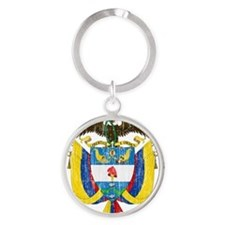 Colombia Coat of Arms Round Keychain