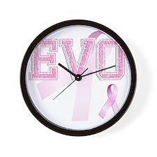 EVO initials, Pink Ribbon, Wall Clock